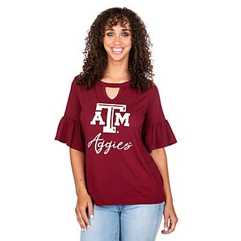 Texas A&M Aggies Gameday Couture Keyhole Ruffle Sleeve Tee