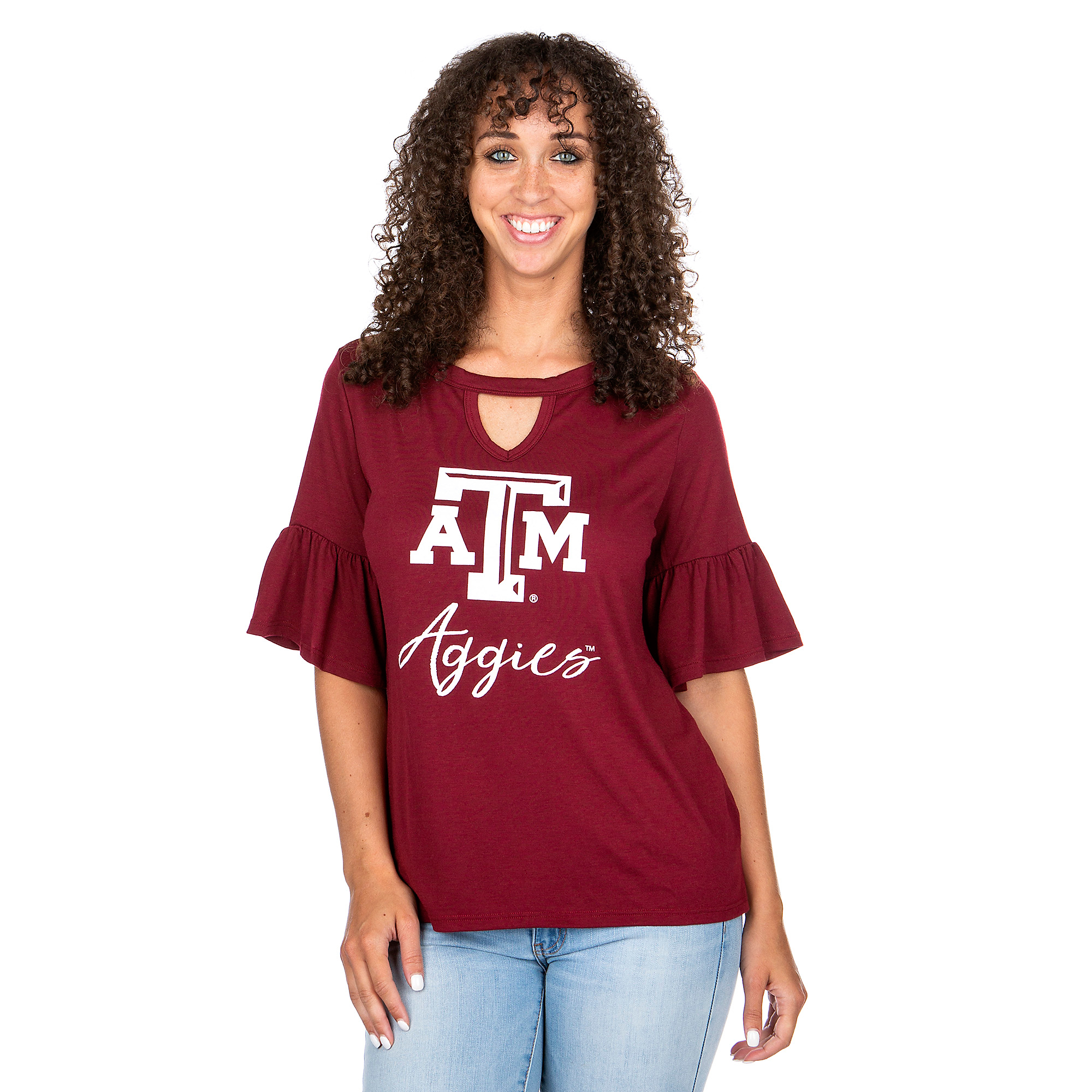 Texas A&M Aggies Gameday Couture Keyhole Ruffle Sleeve Tee