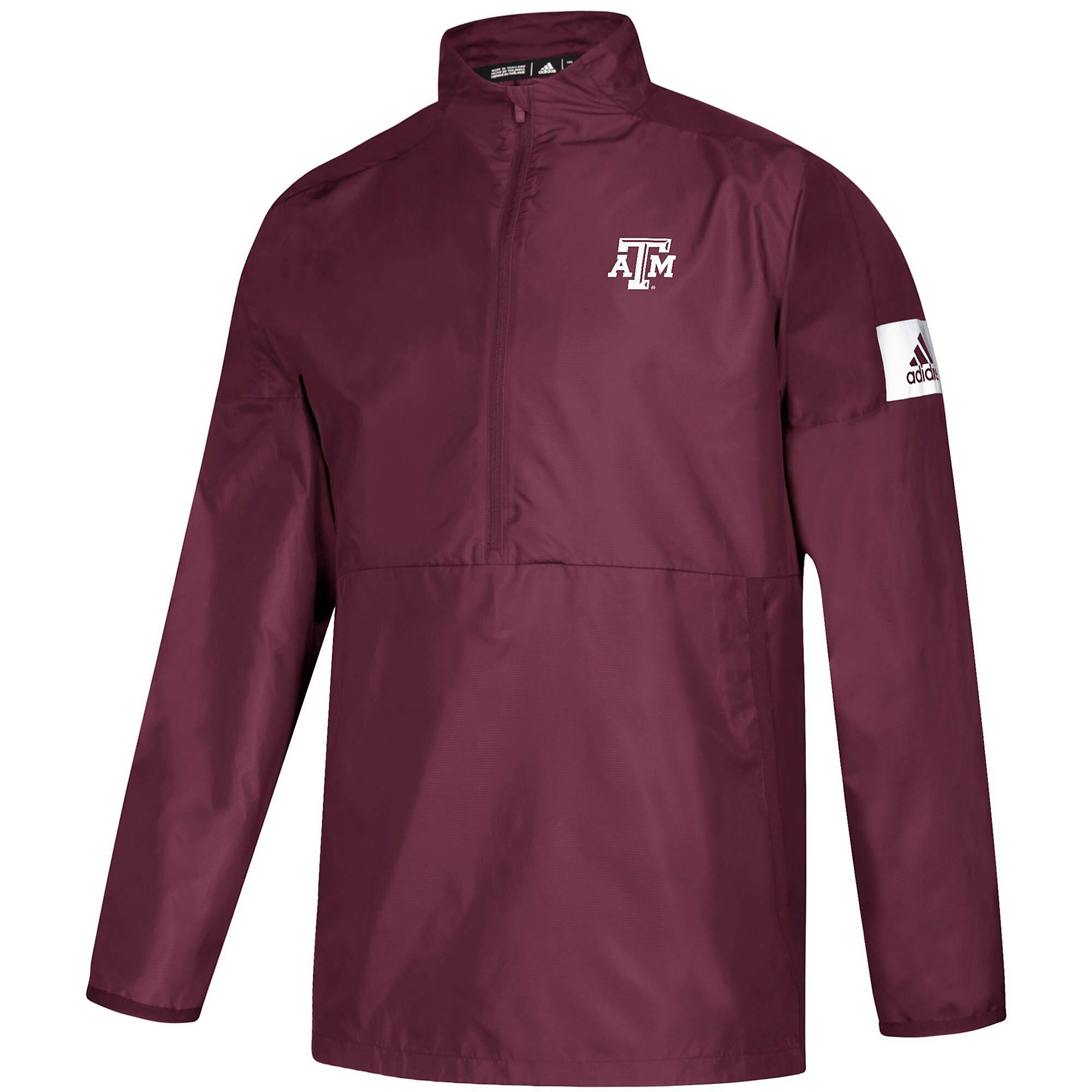 Texas A&M Aggies adidas Mens Long Sleeve Woven 1/4 Zip Pullover