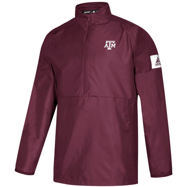 Texas A&M Aggies adidas Mens Long Sleeve Woven 1/4 Zip Pullover