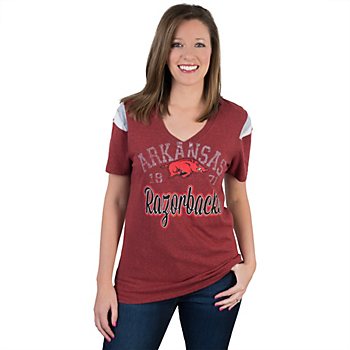 Arkansas Razorbacks 5th & Ocean Fitted V-Neck Tee