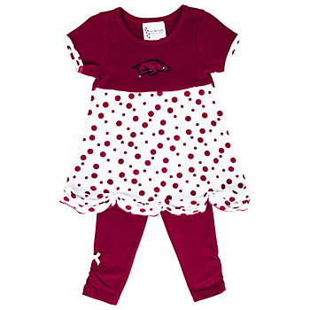Arkansas Razorback Polka Dot Scallop Set