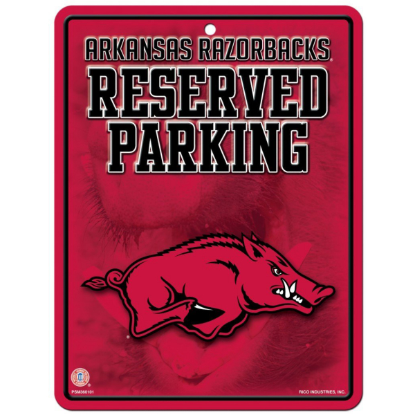Arkansas Razorbacks Metal Parking Sign