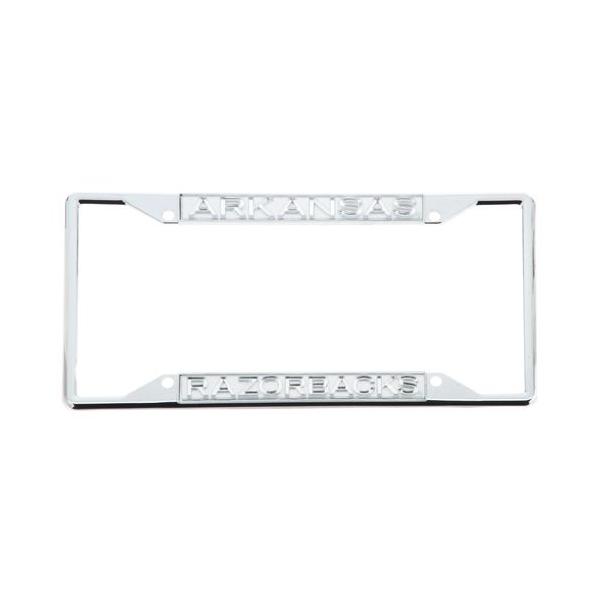 Arkansas Razorbacks Acrylic Silver Matte License Plate Frame