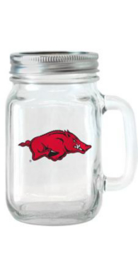 Arkansas Razorbacks 16 oz Glass Jar with Handle