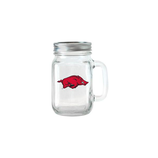 Arkansas Razorbacks 16 oz Glass Jar with Handle