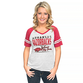 Arkansas Razorbacks Blue 84 Womens Confetti Raglan V-Neck Tee