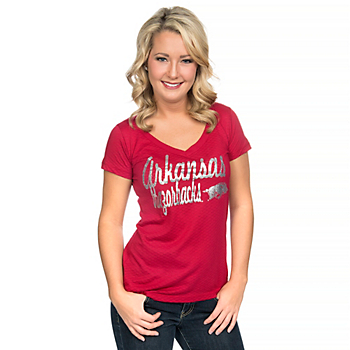 Arkansas Razorbacks Blue 84 Womens V-Neck Tee