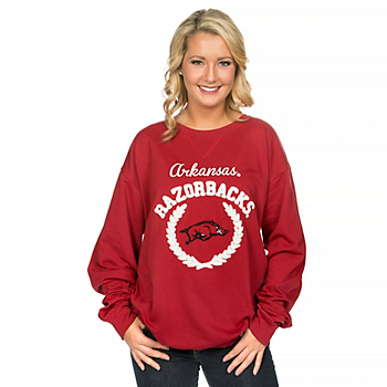 Arkansas Razorbacks Glitter Gear Womens Crew Sweatshirt