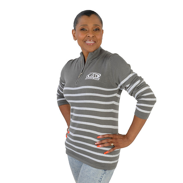 AdvoCare Striped Lurex Quarter-Zip Pullover