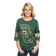 Baylor Bears Glitter Gear Womens 3/4 Sleeve Tee