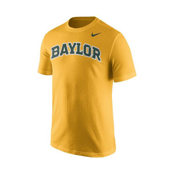 Baylor Bears Nike Cotton Gold Short Sleeve Wordmark Tee