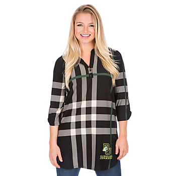 Baylor Bears 3/4 Sleeve Plaid Tunic