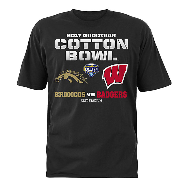 2017 Goodyear Cotton Bowl Western Michigan vs. Wisconsin Mens Matchup Short Sleeve Tee