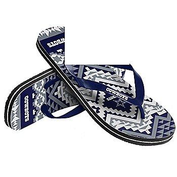 Dallas Cowboys Women's Aztec Flip Flops