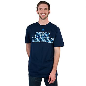 Dallas Mavericks Adidas Blue Camo Wordmark Tee