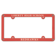 Liberty Redhawks Plastic License Plate Frame