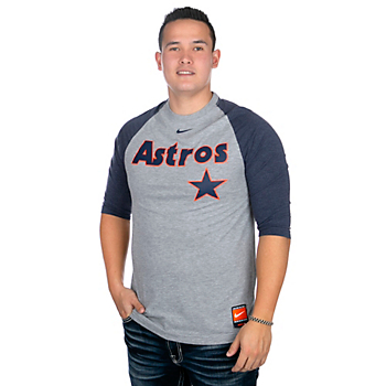 Houston Astros Nike Script 3/4 Sleeve Raglan T-Shirt