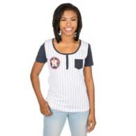 Houston Astros 5th & Ocean Ladies Pinstripe Short Sleeve Scoop Henley