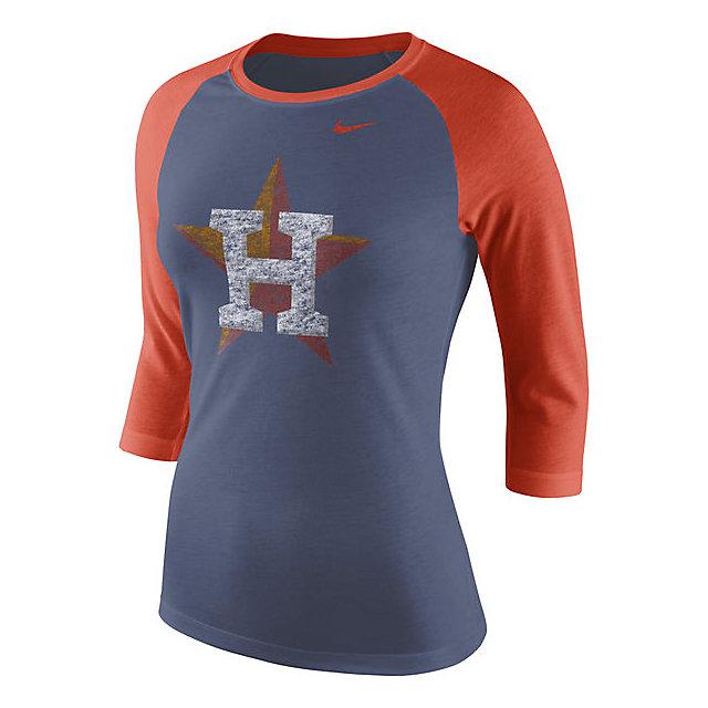 Houston Astros Nike Womens Logo Raglan 3/4 Sleeve Tee