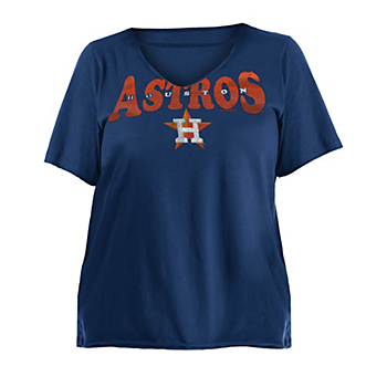 Houston Astros 5th & Ocean Womens Plus Size Baby Raw Edge Jersey T-Shirt