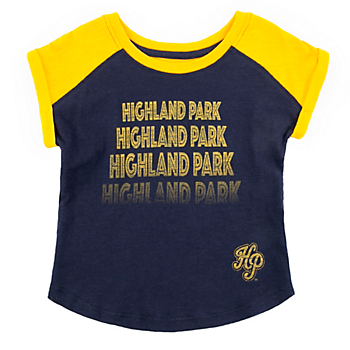 Highland Park Scots Toddler Girls Go Kart Cuffed Short Sleeve Tee