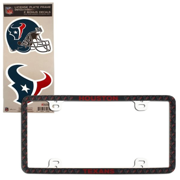 Houston Texans Thin License Plate Frame with Decals