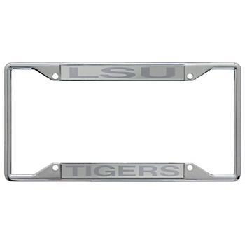 LSU Tigers Acrylic Silver Matte License Plate Frame