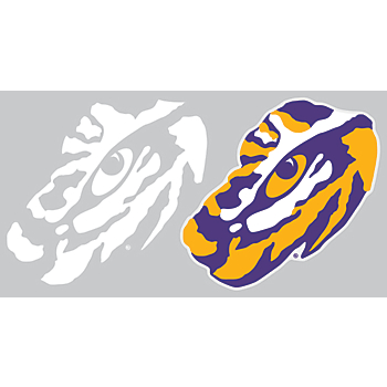 LSU Tigers 2-Pack 3x7 White Logo Decal