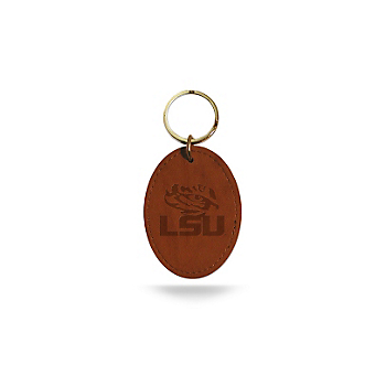 LSU Tigers Embossed Leather Key Fob