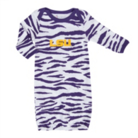 LSU Tigers Animal Print Layette Gown