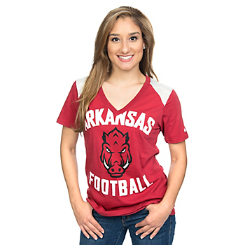 Arkansas Razorbacks Nike Womens Football Tee