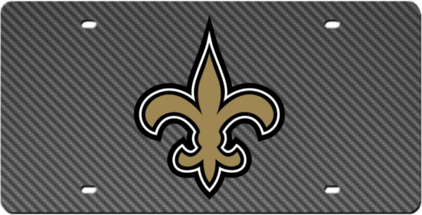 New Orleans Saints Carbon Fiber Logo License Plate