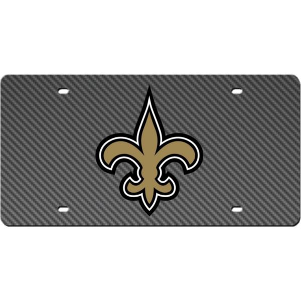 New Orleans Saints Carbon Fiber Logo License Plate