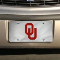 Oklahoma Sooners Silver Mirror Logo License Plate
