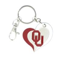 Oklahoma Sooners Swirl Heart Key Ring