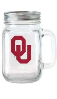 Oklahoma Sooners Glass Jar with Handle