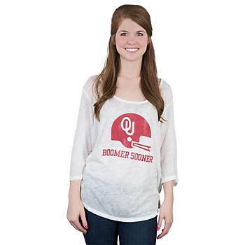 Oklahoma Sooners Retro 3/4 Sleeve Tee