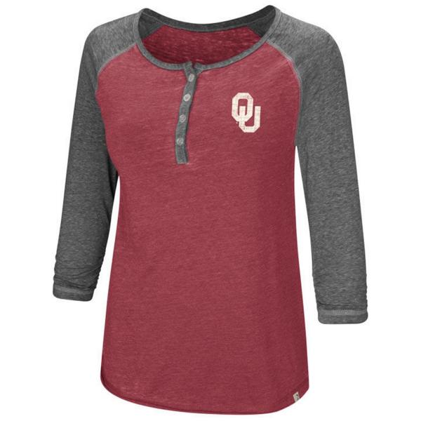 Oklahoma Sooners Womens 3/4 Sleeve Henley