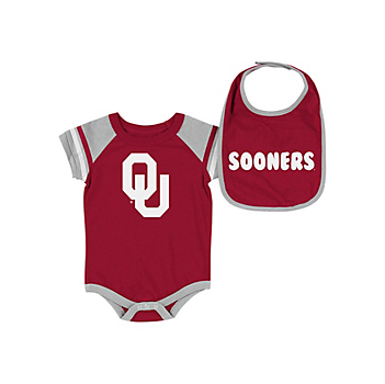 Oklahoma Sooners Infant Roll-Out Onesie & Bib Set