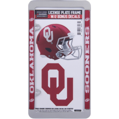 Oklahoma Sooners License Plate Frame And Decal Pack Fans