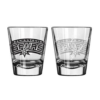 San Antonio Spurs 2 oz Satin Etch Shot Glass