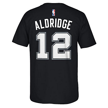 San Antonio Spurs Adidas Lamarcus Aldridge #12 Name and Number Tee