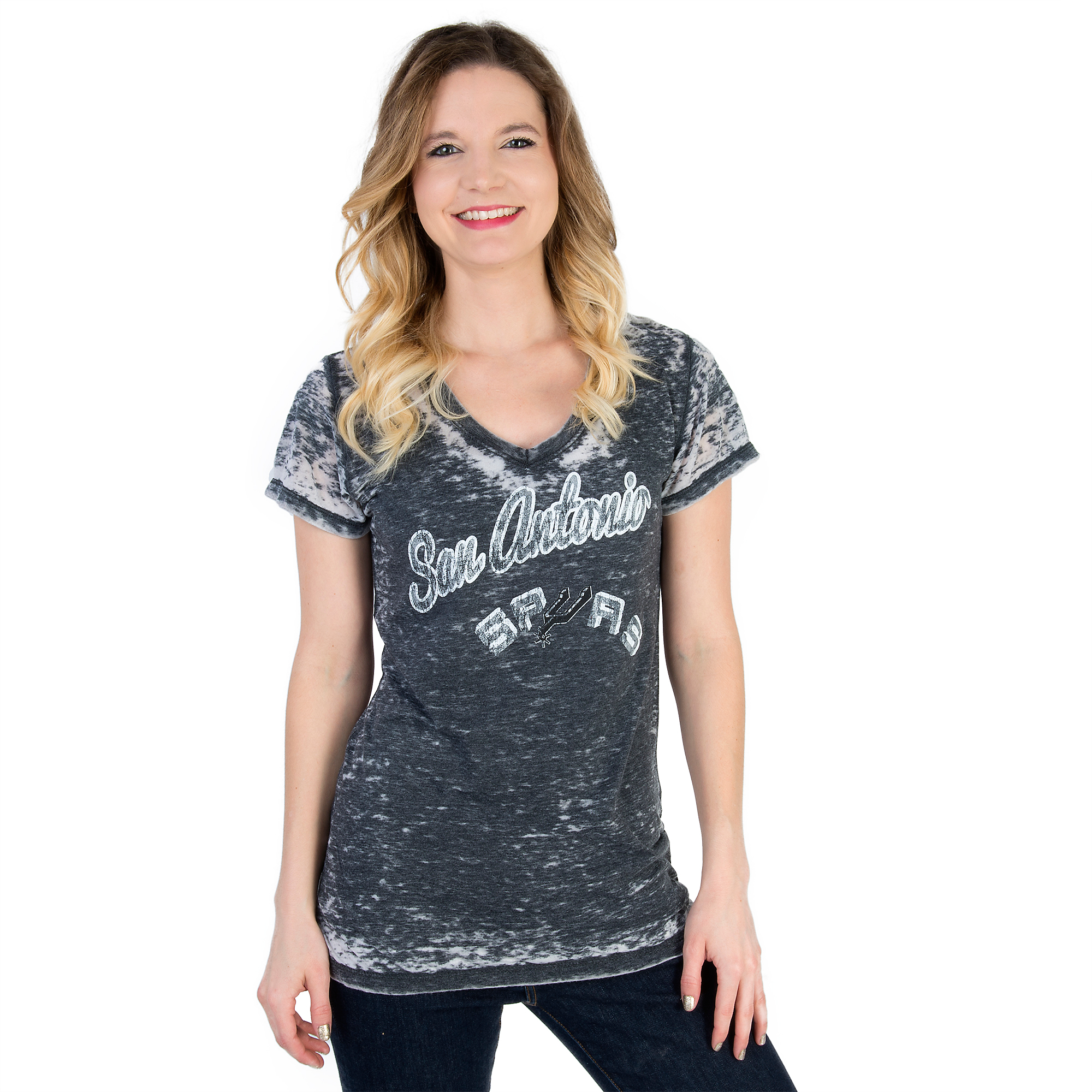 San Antonio Spurs 5th & Ocean Ladies Burnout V-Neck Tee