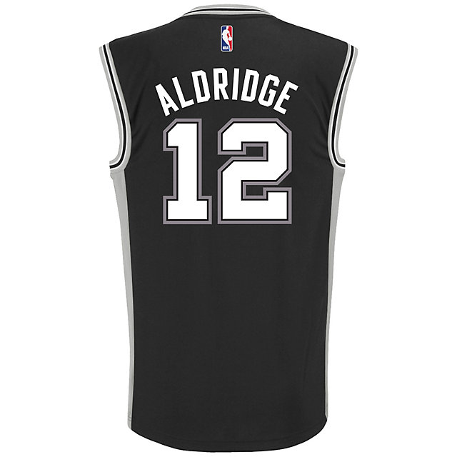 San Antonio Spurs Adidas LaMarcus Aldridge #12 Black Road Replica Jersey