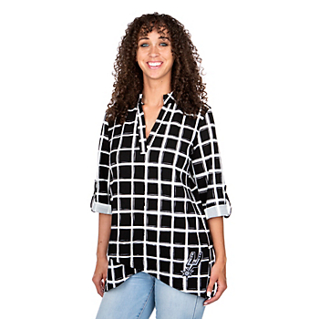 San Antonio Spurs Gameday Couture Window Pane Blouse