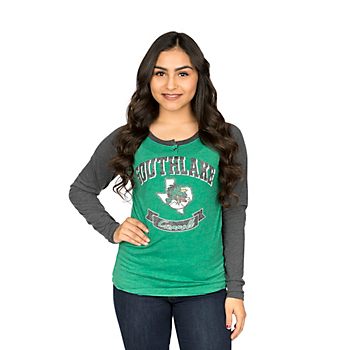 Southlake Carroll Dragons Colosseum Womens Healy Raglan Long Sleeve Tee