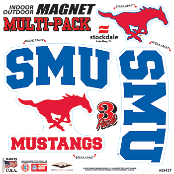 SMU Mustangs 8x8 Multipack Magnets
