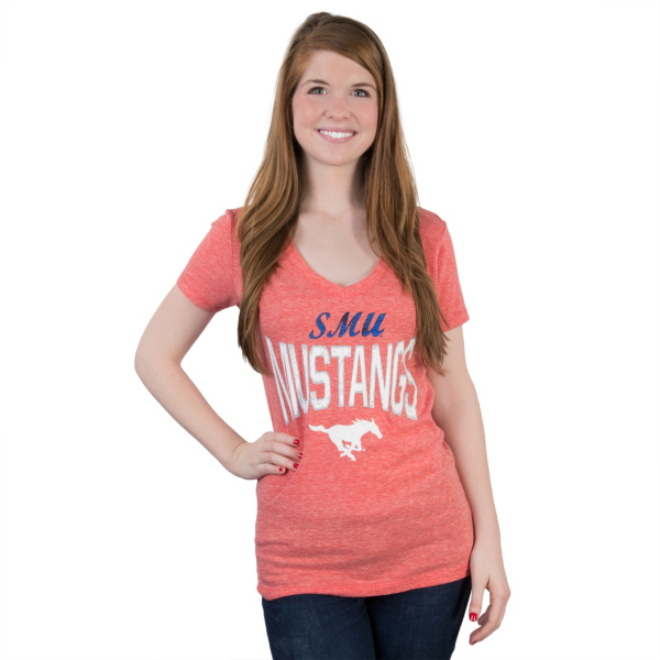 SMU Mustangs 5th & Ocean Relaxed V-Neck Tee