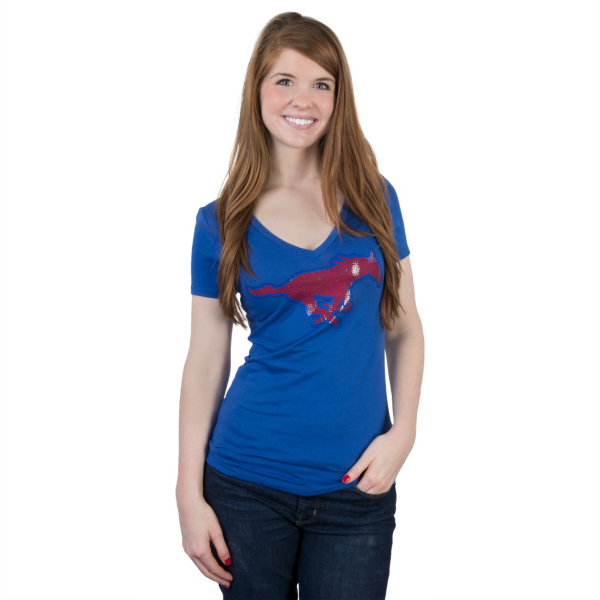 SMU Mustangs Summit Sequin V-Neck Tee